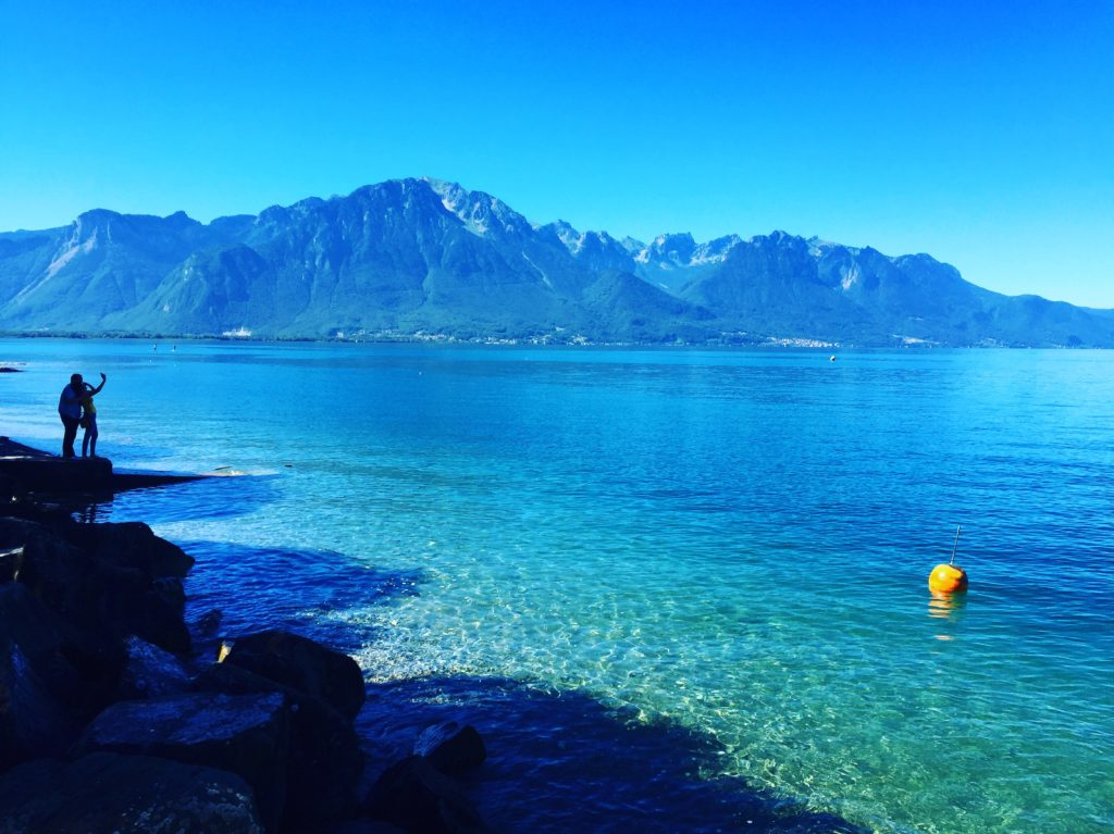 How many shades of blue can you count in this photo of Lake Geneva?