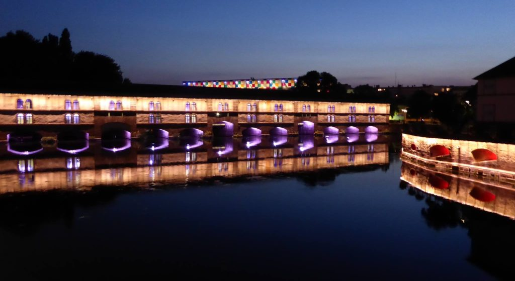 Strasbourg bridge by night