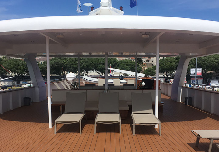 Sun deck on the Ms Il Mare