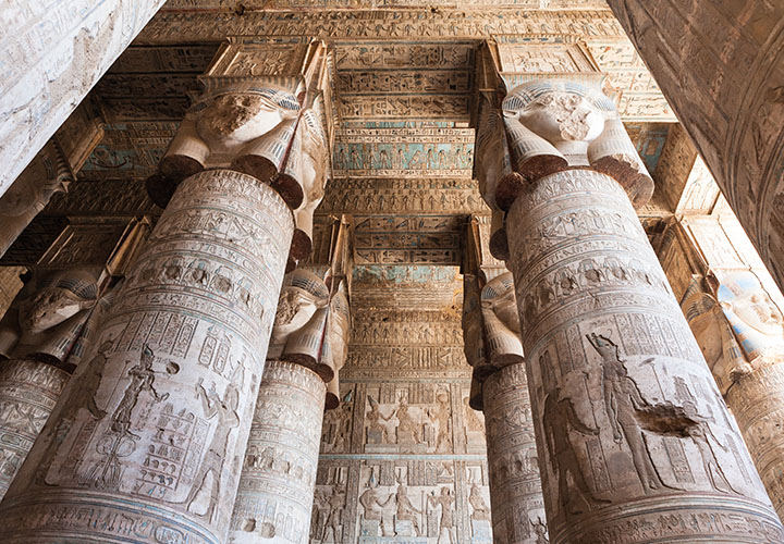 Columns in the Dendera Temple Complex