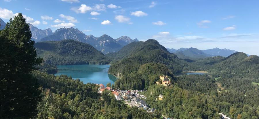 View from Neuschwanstein castle of Alpsee