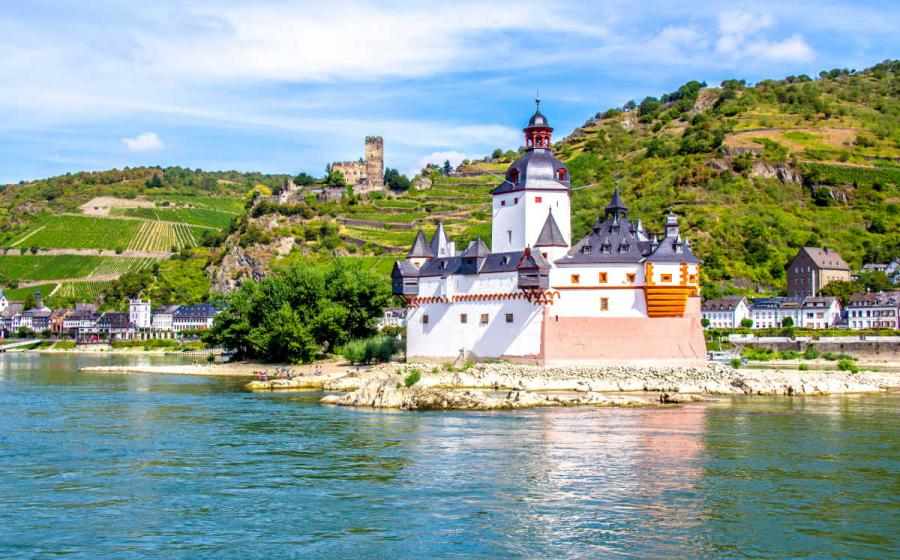 Pfalzgrafenstein Castle, on the Falkenau island in the Rhine river, Germany