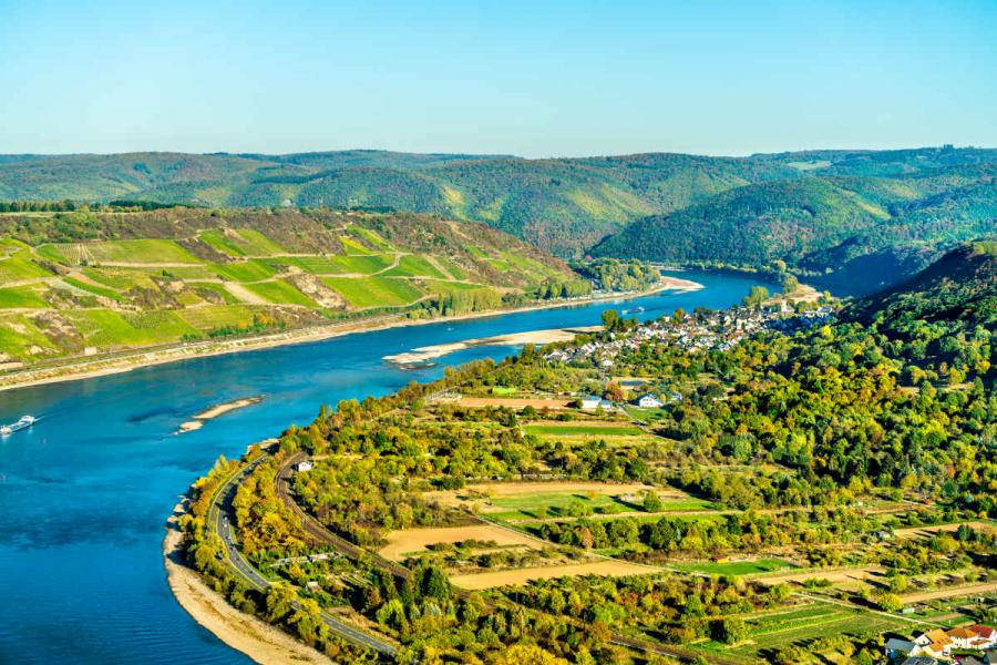 Rivers in Europe Rhine river loop