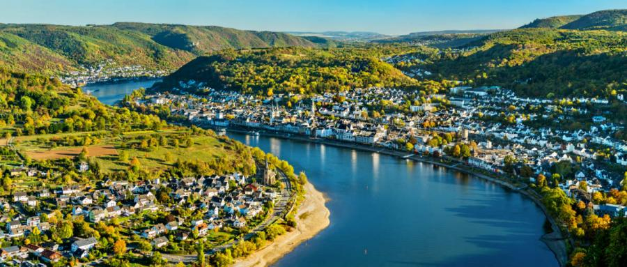 best river cruises aerial view of boppard on the rhine