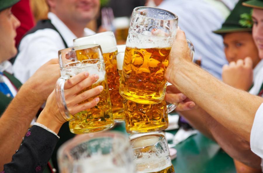 beer festival beer drinkers at oktoberfest munich