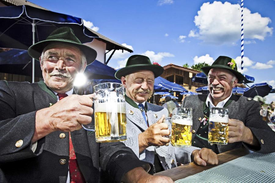 beer festival bavarians in the beer garden