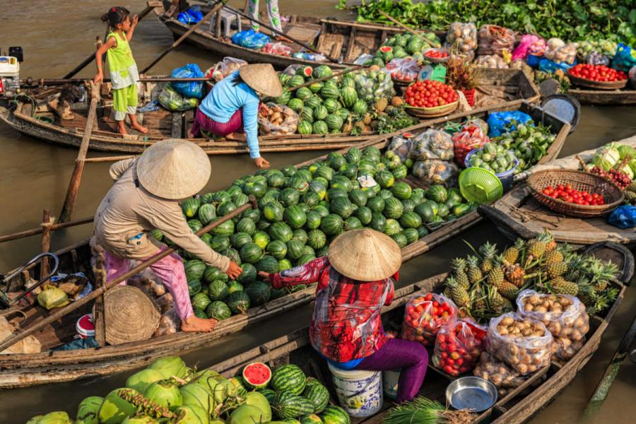 Mekong river cruise floating market