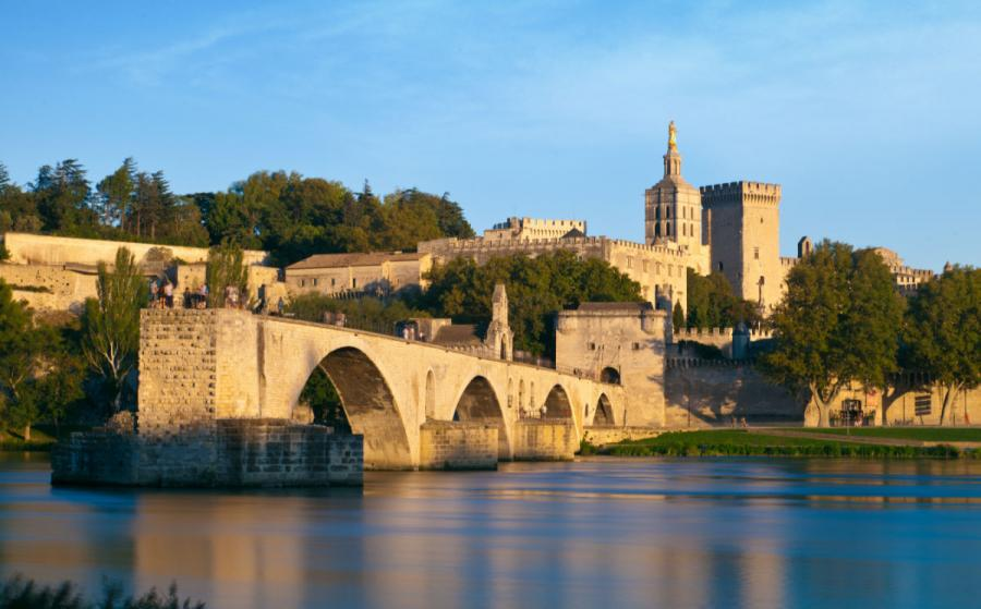rhone river avignon bridge and popes palace