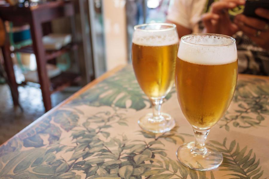 beer festival beer glasses on bar table