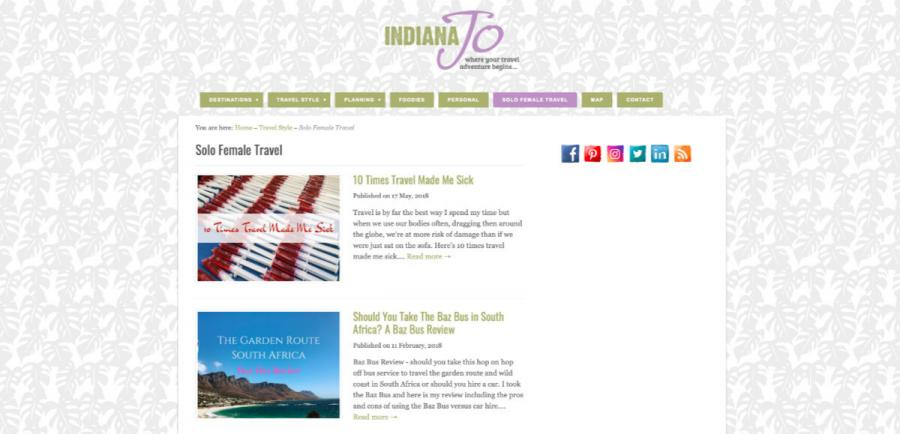 solo travel blog Indiana Jo