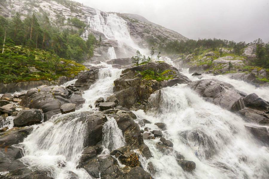norwegian fjords cruise waterfall langfoss