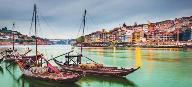 Wooden Rabelo boats in Douro river in Porto
