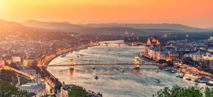 Danube river through Budapest at sunset