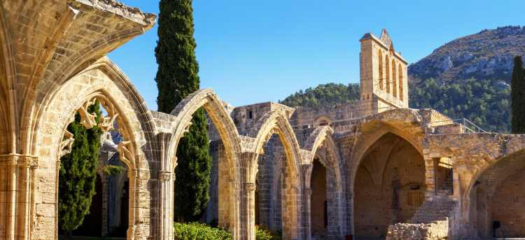 See Bellapais village with the remains of its Gothic abbey on our escorted tour