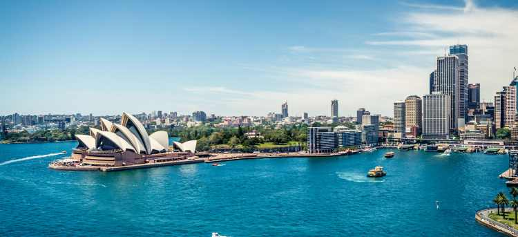 Sydney Opera House and blue waters