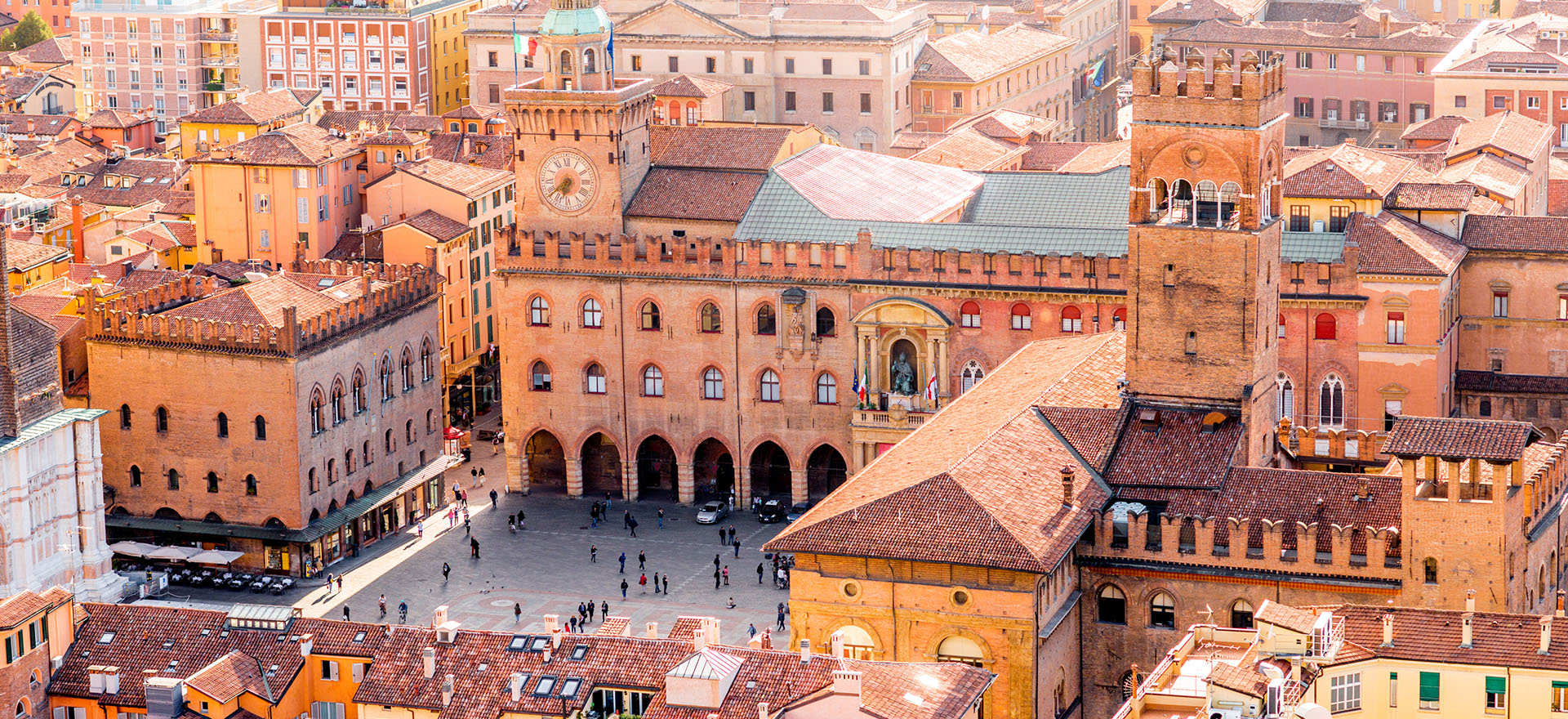 Piazza Maggiore and rooftops of Bologna