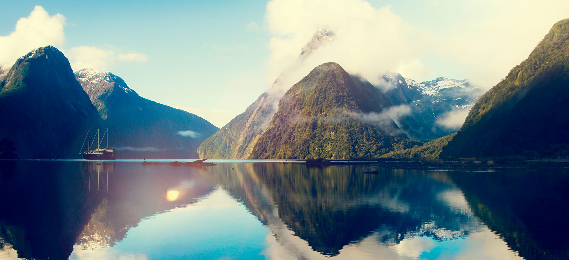 Milford Sound mirror reflection in water