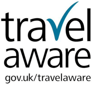 Travel aware logo black and white with teal tick