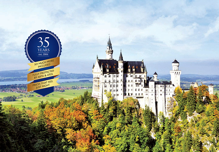 Neuschwanstein Castle surrounded by green treetops featuring Riviera Travel's 35 years price promise key logo
