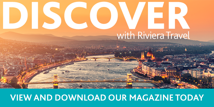 Discover with Riviera Travel magazine view and download - Budapest cityskape with orange sky