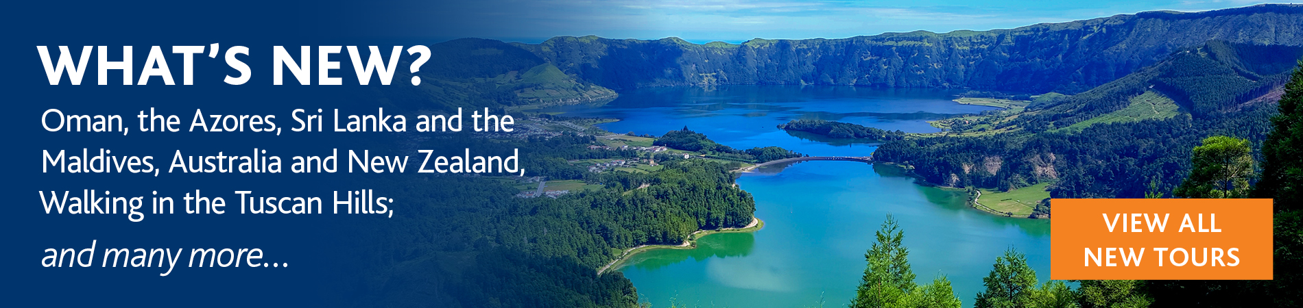 What's New? banner featuring Sete Cidades adjascent lakes green and blue in Ponta Delganda the Azores