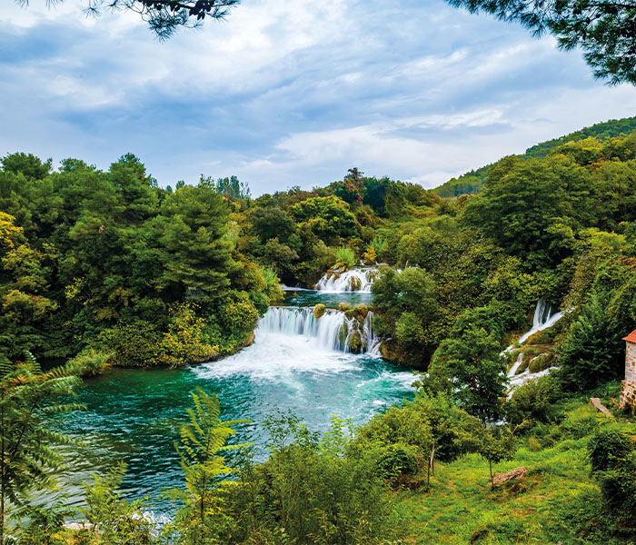 Waterfall in the lush Krka National Park