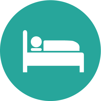 Teal hotel accommodation bed circle icon