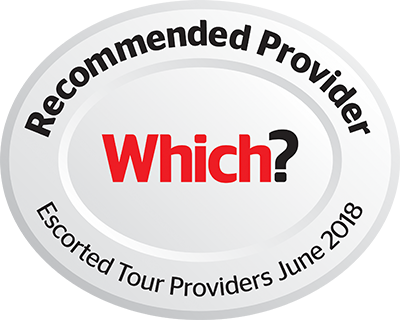 Which? Reccommended Provider Escorted Tour Providers June 2018 silver and red logo
