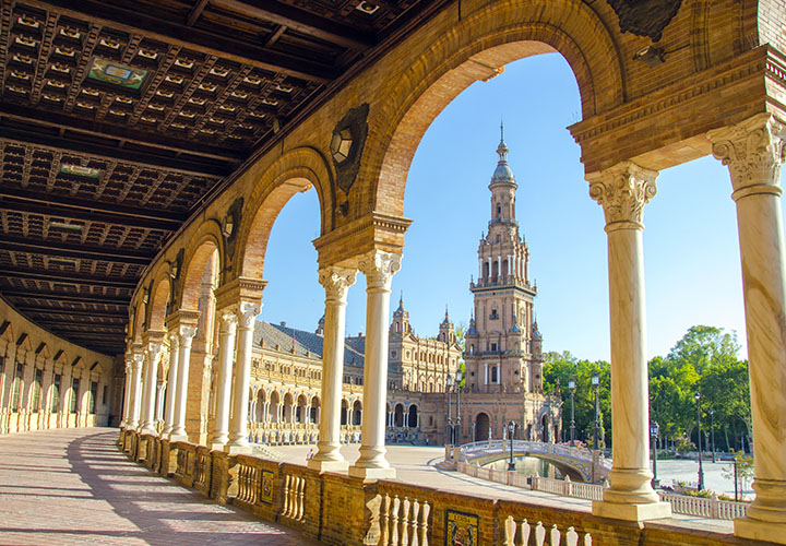 Plaza D'Espana through cloisters in Seville