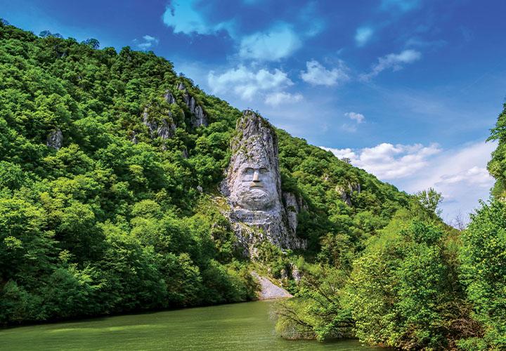 Decebalus Rex statue banks of Danube river