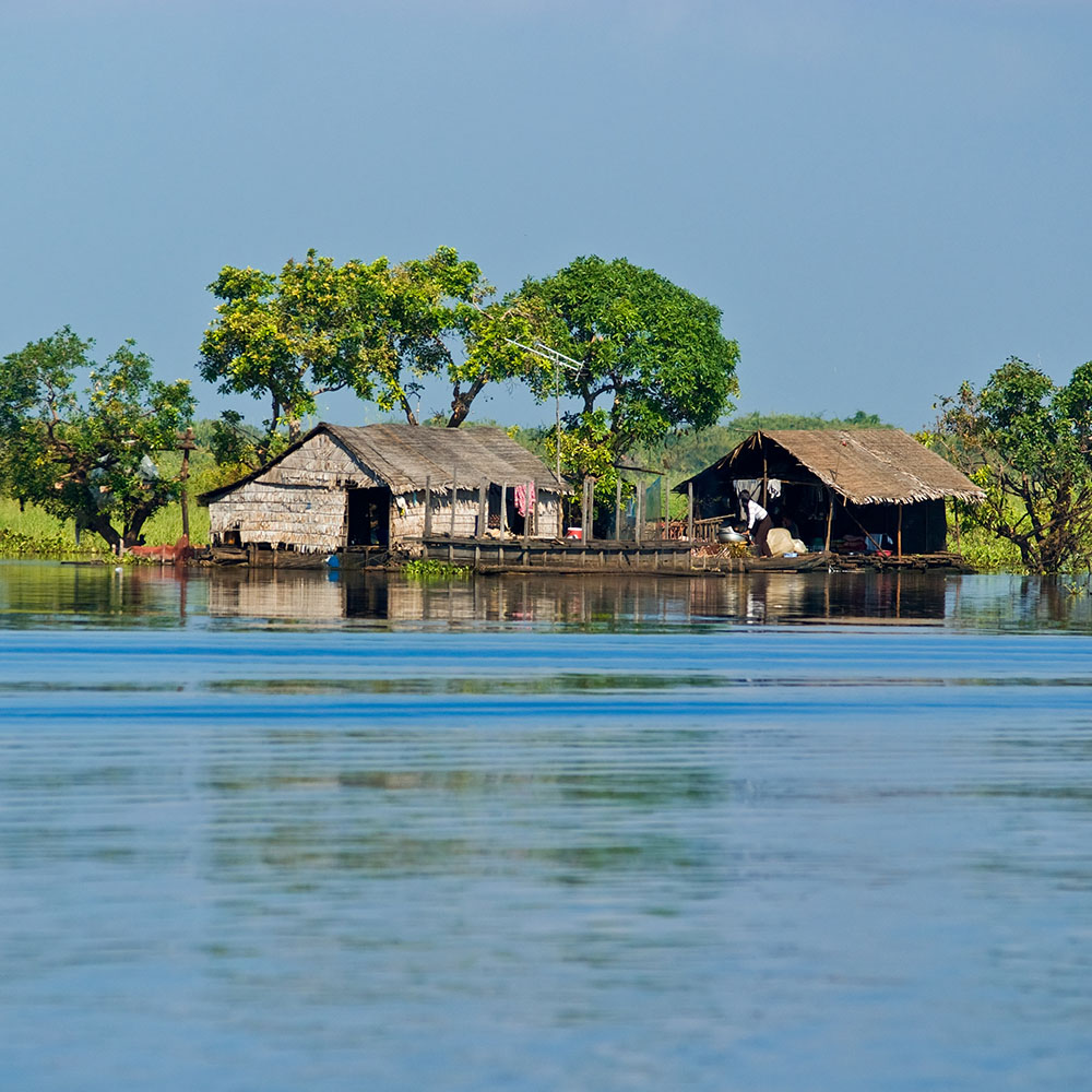 Houses in the floating village