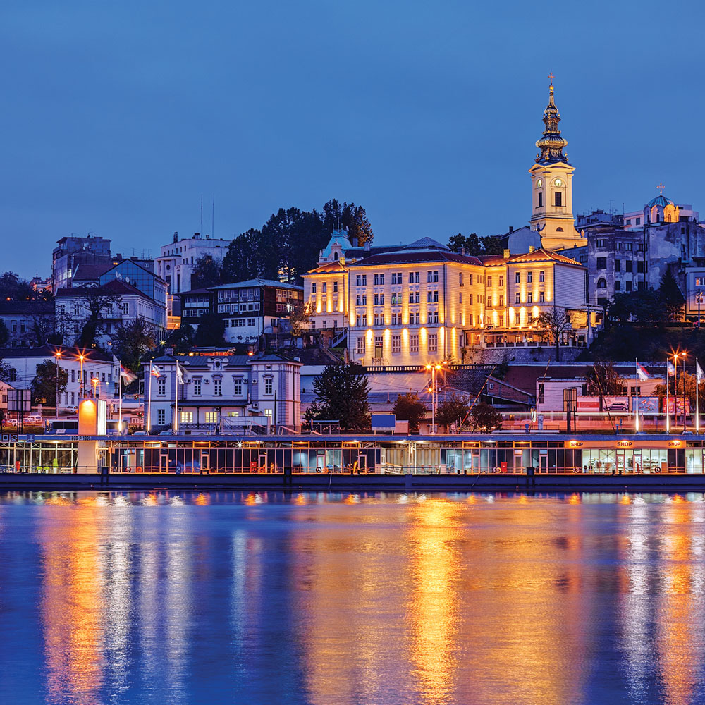 Belgrade city by the river at night