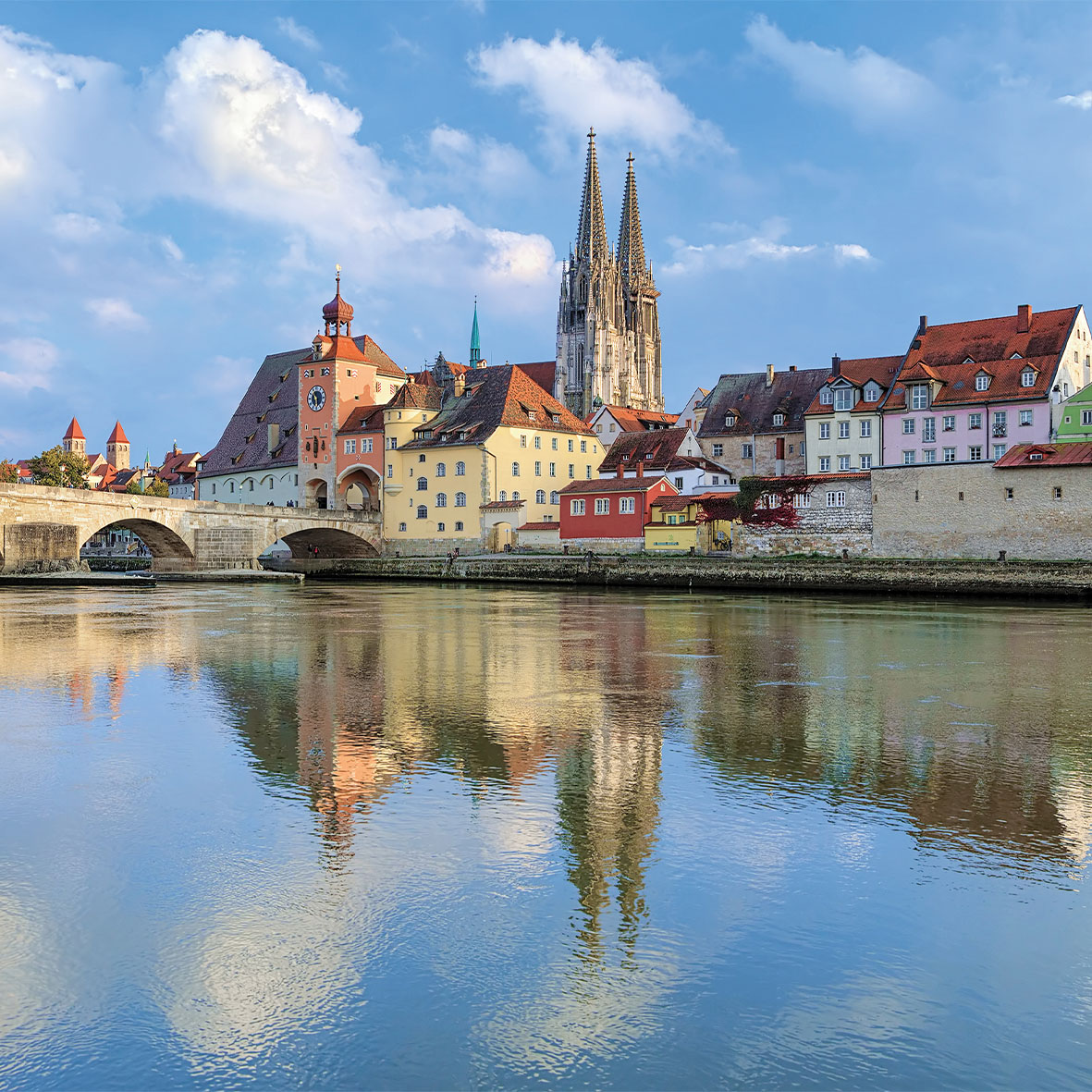 Regensburg Cathedral and Stone Bridge over Danube