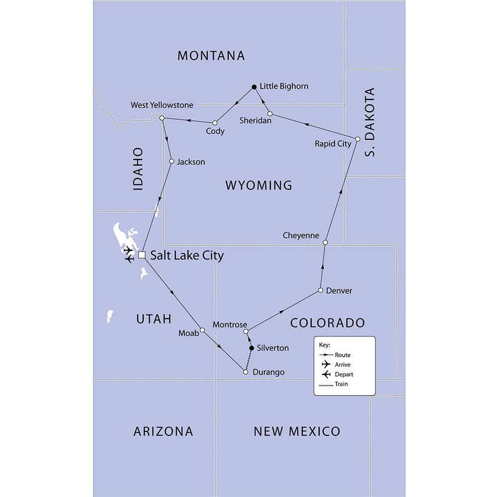 Great National Parks of the Western USA route map